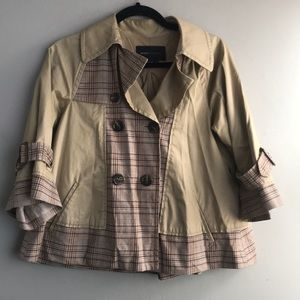 Jackets & Blazers - BCBG light weight tan plaid coat